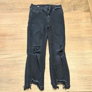 American Eagle Distressed Black Jeans Short